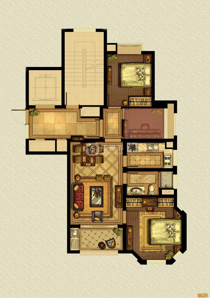 A3户型88平:3室2厅1卫    面积大小:约88.00㎡