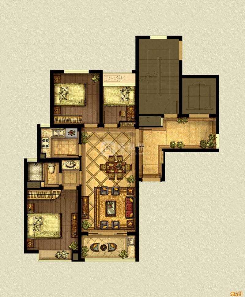 A5户型88平:3室2厅1卫    面积大小:约88.00㎡