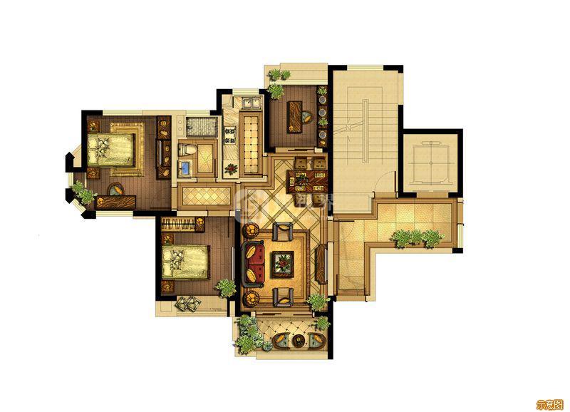A6户型88平:3室2厅1卫    面积大小:约88.00㎡