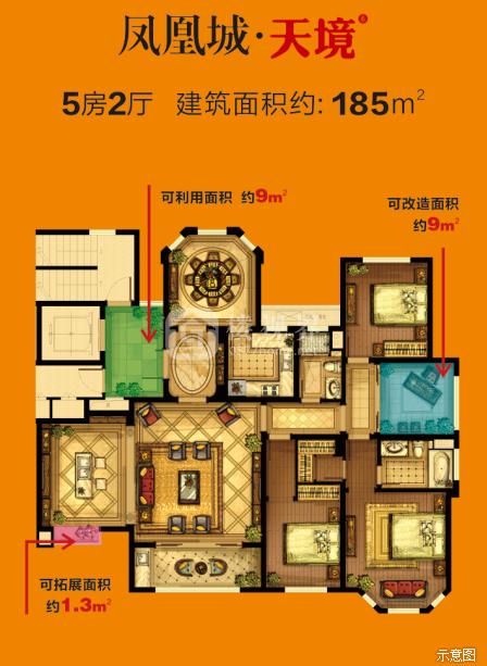 天境系185㎡:5室2厅1卫    面积大小:约185.00㎡