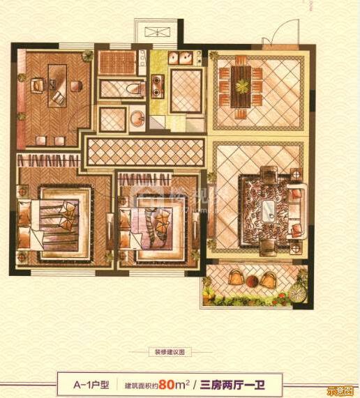 A-1户型:3室2厅1卫    面积大小:约80.00㎡
