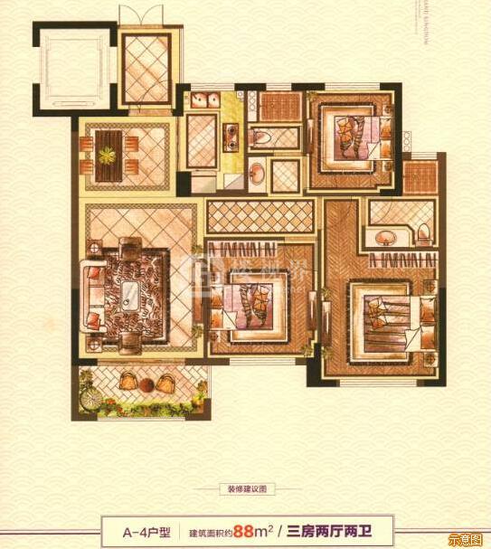 A-4户型:3室2厅2卫    面积大小:约88.00㎡