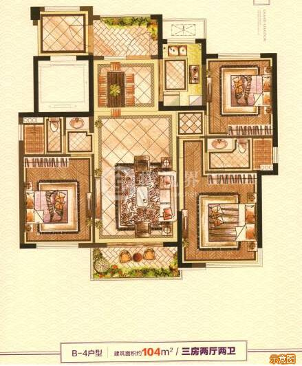 B-4户型:3室2厅2卫    面积大小:约104.00㎡