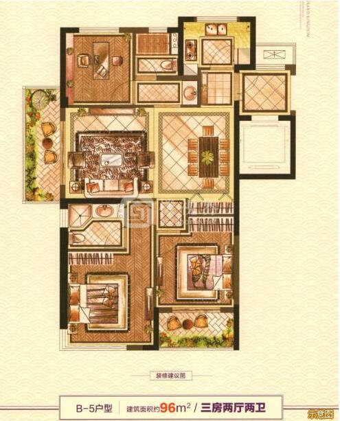 B-5户型:3室2厅2卫    面积大小:约96.00㎡