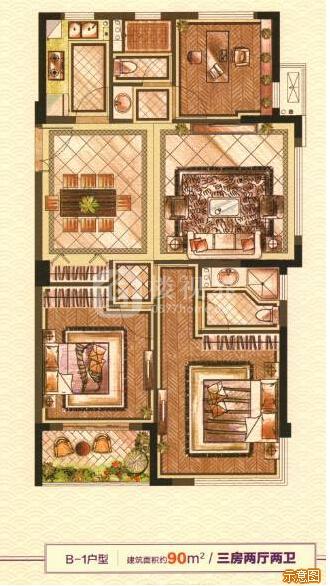 B-1户型:3室2厅2卫    面积大小:约90.00㎡