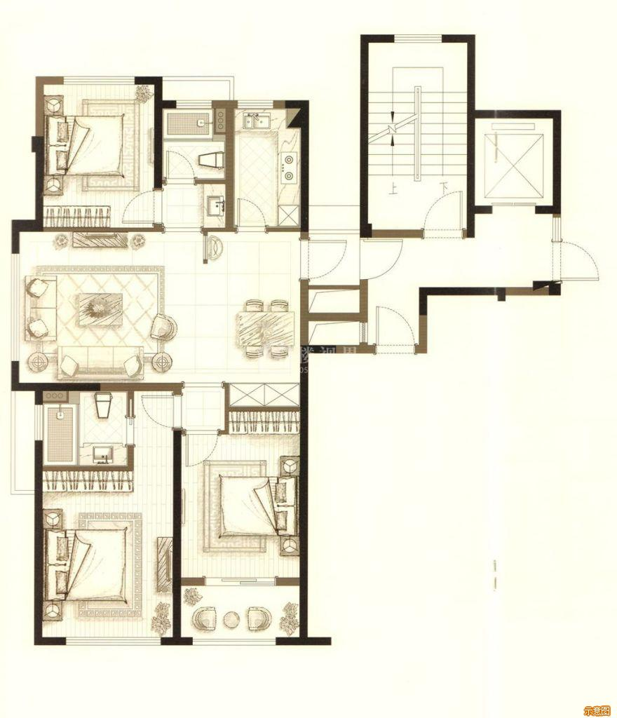 :3室2厅2卫    面积大小:约107.00㎡