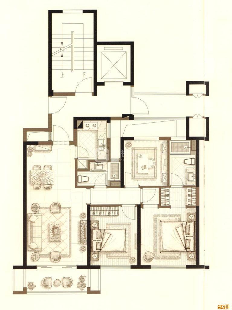 :3室2厅2卫    面积大小:约96.00㎡
