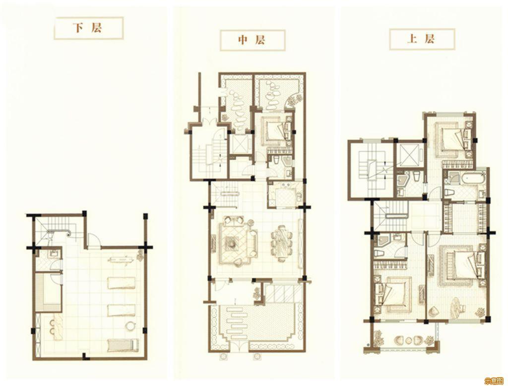 :4室3厅4卫    面积大小:约160.00㎡