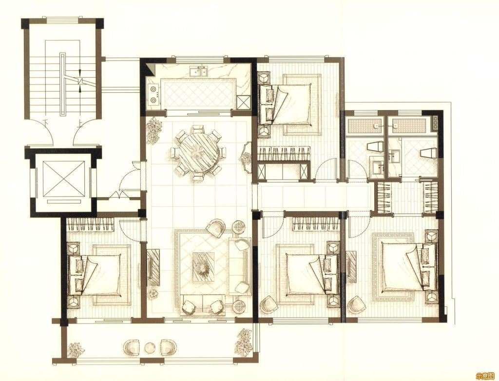 :4室2厅2卫    面积大小:约135.00㎡