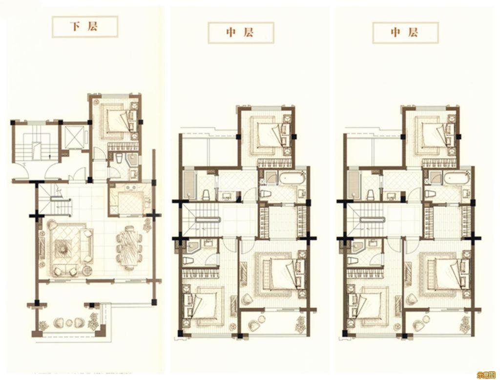 :4室2厅4卫    面积大小:约155.00㎡