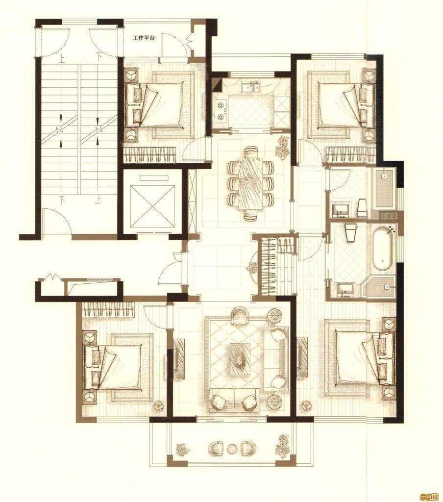 :4室2厅2卫    面积大小:约129.00㎡