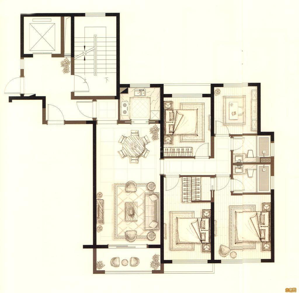:4室2厅2卫    面积大小:约119.00㎡