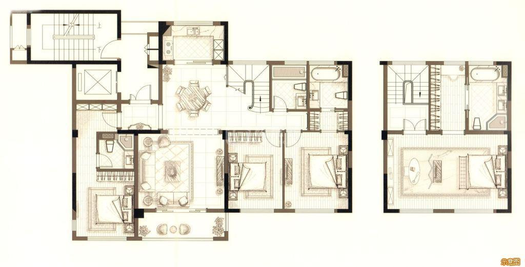 :5室2厅4卫    面积大小:约172.00㎡