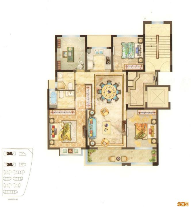 121㎡3室2厅2卫:3室2厅2卫    面积大小:约121.00㎡