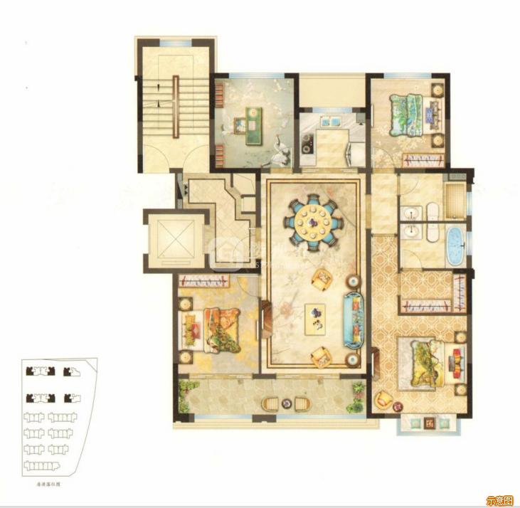 130㎡4室2厅2卫:4室2厅2卫    面积大小:约130.00㎡