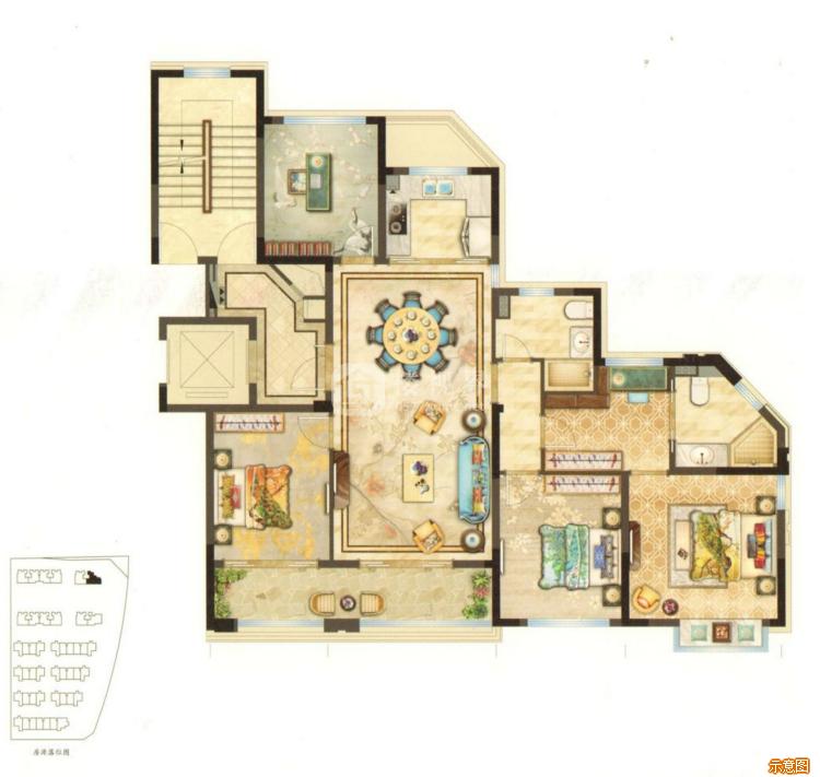 139㎡4室2厅2卫:4室2厅2卫    面积大小:约139.00㎡