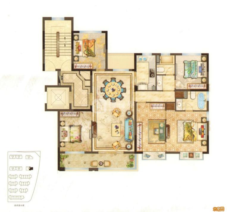 141㎡4室2厅2卫:4室2厅2卫    面积大小:约141.00㎡