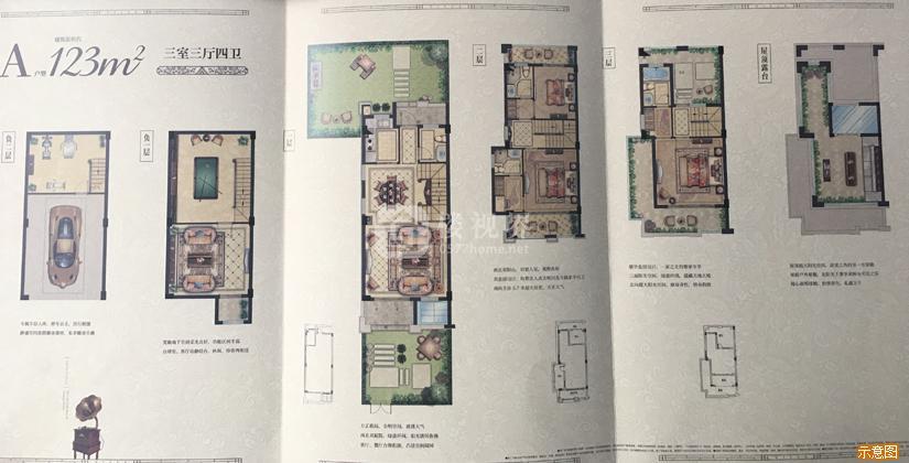 别墅A户型123㎡三室三厅四卫:3室2厅2卫    面积大小:约123.00㎡