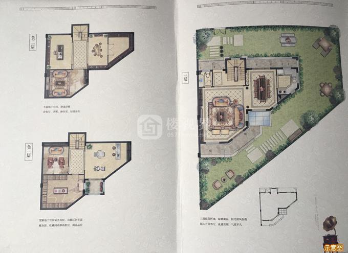 别墅F户型166㎡四室三厅四卫2:4室3厅4卫    面积大小:约166.00㎡