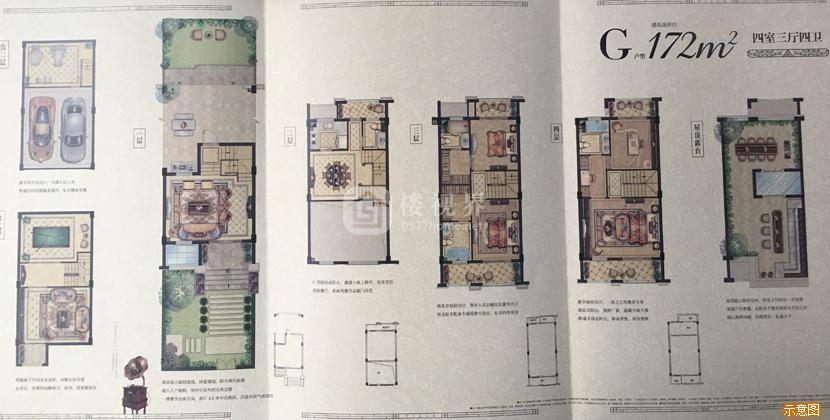 别墅G户型172㎡四室三厅四卫:4室3厅4卫    面积大小:约172.00㎡