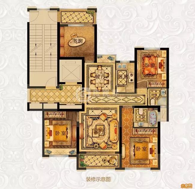 128㎡四房两厅两卫:4室2厅2卫    面积大小:约128.00㎡