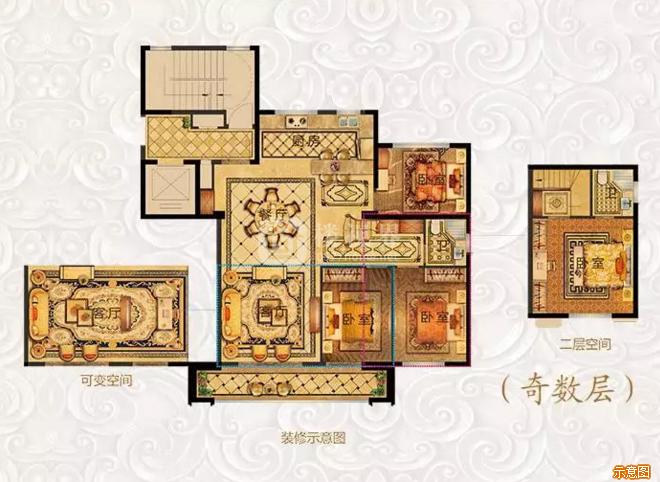 148㎡四房两厅两卫基数层:4室2厅2卫    面积大小:约148.00㎡