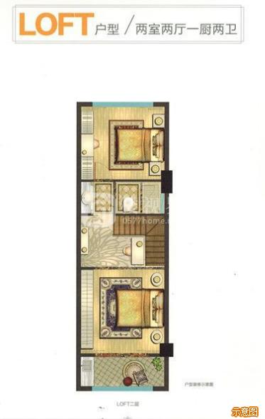 52㎡2室2厅2卫1:2室2厅2卫    面积大小:约52.00㎡