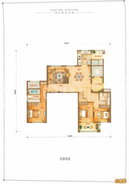 B户型165㎡5室2厅3卫首层:5室2厅3卫    面积大小:约165.00㎡