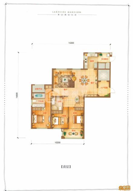 D户型142㎡4室2厅3卫首层:4室2厅3卫    面积大小:约142.00㎡