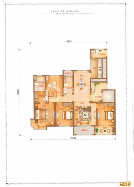 E户型142㎡4室2厅2卫:4室2厅2卫    面积大小:约142.00㎡