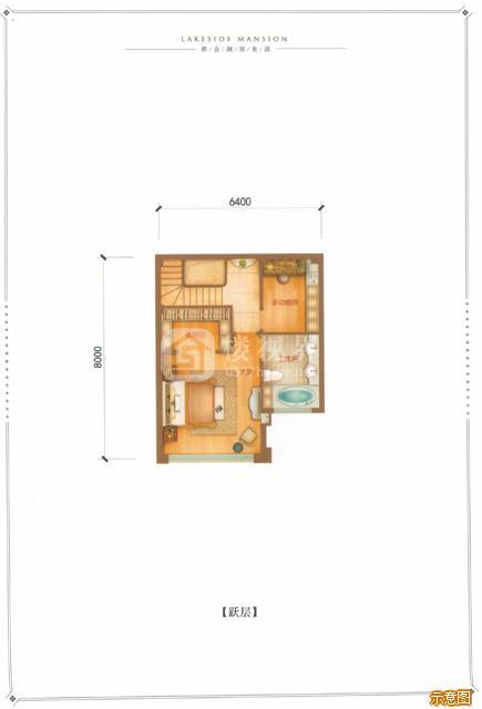 F户型142㎡4室2厅3卫跃层:4室2厅3卫    面积大小:约142.00㎡