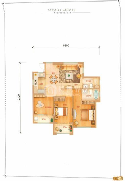 G户型90㎡3室2厅2卫:3室2厅2卫    面积大小:约90.00㎡