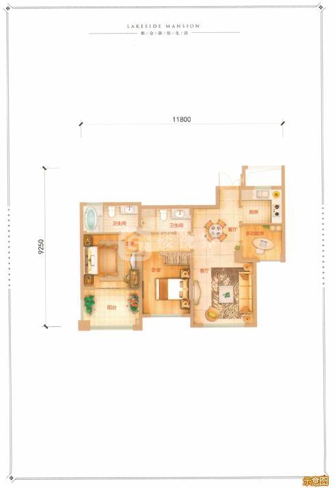 I户型90㎡3室2厅2卫:3室2厅2卫    面积大小:约90.00㎡