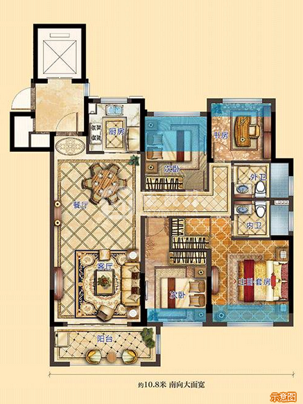 御景高层:4室2厅2卫    面积大小:约120.00㎡