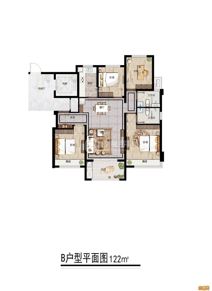 B户型:4室2厅2卫    面积大小:约122.00㎡