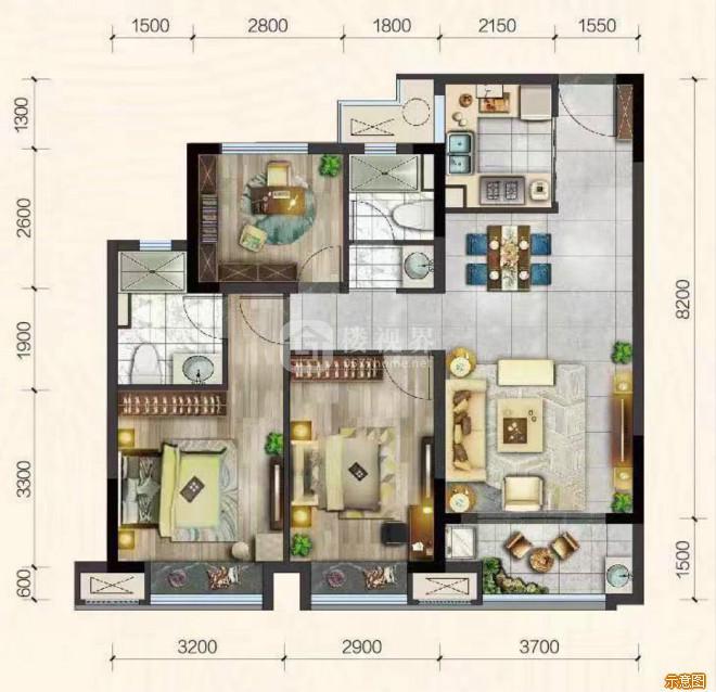 B户型95㎡:3室2厅2卫    面积大小:约95.00㎡