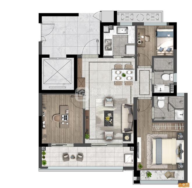 89户型:3室2厅2卫    面积大小:约89.00㎡