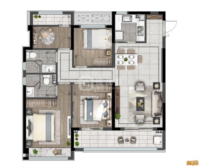 119户型:4室2厅2卫    面积大小:约119.00㎡